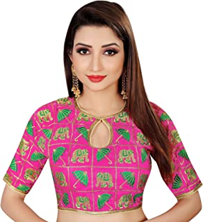 Spangel Fashion Elephant & Umbrella Embroidered Work Round Neck Women's Saree's Blouse(Color_Pink, Green)