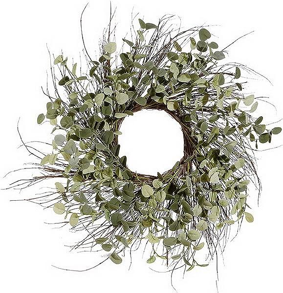 25 Inch Artificial Eucalyptus Wreath On A Natural Twig Base