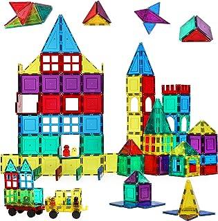 لعبة قطع بناء مغناطيسية ثلاثية الابعاد 160 قطعة من ماجنتك ستيك ان ستاك، احجار البناء مع قواعد سيارات ونوافذ ومجسمات، لعبة ...