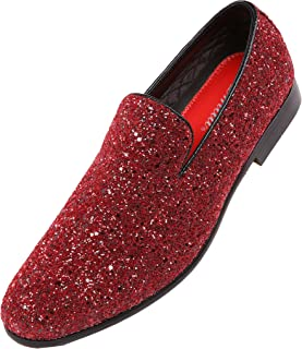 FREE Shipping on eligible orders. Amali Mens Metallic Sparkling Glitter  Tuxedo Slip On Smoking Slipper Dress Shoe 6531ddc63b62