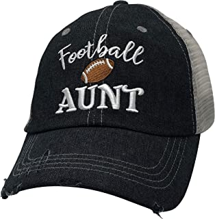 Cocomo Soul Embroidered Football Aunt Mesh Trucker Style Hat Cap Football MOM Gift Mothers Day Dark Grey