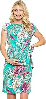 My Bump - Vestido de Maternidad, diseño de Lazo, Manga, Jade/Fuchsia Tropical, L