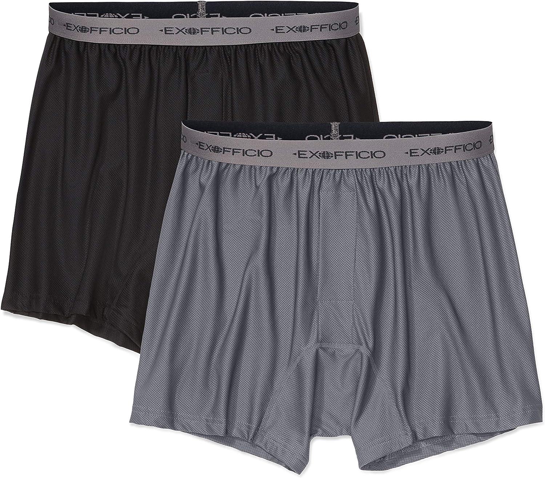 ExOfficio Herren Boxershorts, Boxershorts für Herren, Give-N-Go, Herren, Give-n-go Boxer, Granite schwarz, 2 Pack - Medium