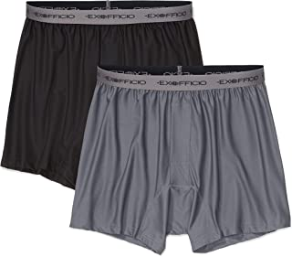 ExOfficio Men's Give-N-Go Boxer, Granite/Black, 2 Pack - Medium