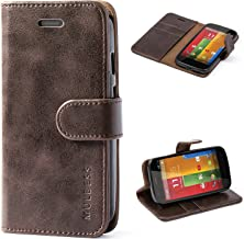 Mulbess Moto G Protective Cover, Magnetic Closure RFID Blocking Luxury Flip Folio Leather Wallet Phone Case with Card Slots and Kickstand for Motorola Moto G, Coffee Brown