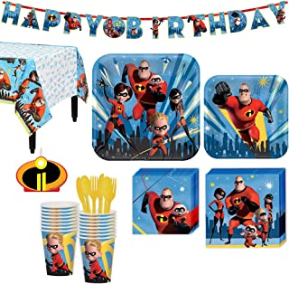 The Incredibles 2 Birthday Party Kit, Includes Happy Birthday Banner and Birthday Candles, Serves 16, by Party City