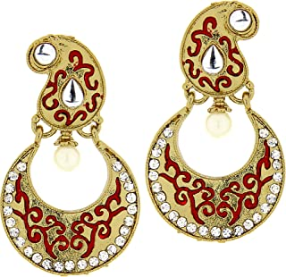Kaizer Jewelry Kundan Black Fancy Party Wear Earring for Women & Girls (Gift)