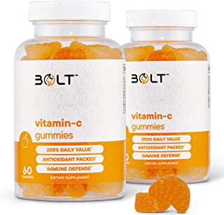 Bolt Vitamin C Immune Support Gummies Designed for Defense, Non-GMO, Natural & Pectin-Based; 120 Gummies (2 Pack)