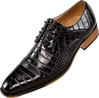 Amali Men's Exotic Croco Lace Up with Burnished Cap Toe Dress Shoe, Style Eberly