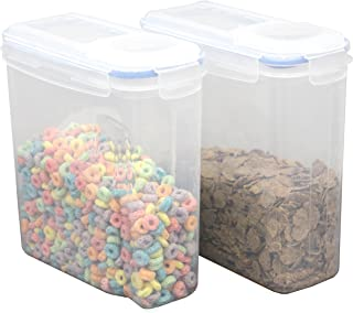 Basicwise Large BPA-Free Plastic Food Cereal Containers, Airtight Spout Lid Set of 2