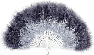 Coucoland 1920s - Abanico de pluma para mujer, abanico plegable con pluma, ventilador de pluma, accesorio de Great Gatsby Party
