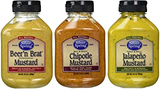 Silver Spring All Natural Mustard 3 Flavor Variety Bundle: (1) Silver Spring Beer'n Brat Horseradish Mustard, (1) Silver Spring Rich And Smoky Chipotle Mustard, and (1) Silver Spring Tangy & Spicy Jalapeno Mustard, 9.5 Oz. Ea. (3 Total)