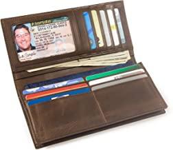 Mens Long Wallet with Checkbook Holder - RFID Blocking Leather Checkbook Wallet
