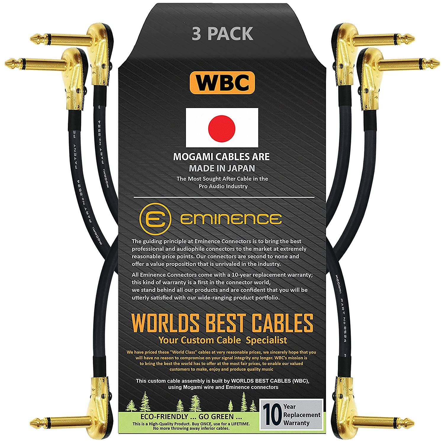 3 Units - 4 Inch Pedal Patch Cable Custo Instrument Max 49% OFF Selling Effects