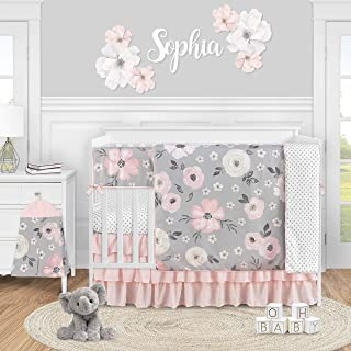 Sweet Jojo Designs Grey Watercolor Floral Baby Girl Nursery Crib Bedding Set - 5 Pieces - Blush Pink Gray and White Shabby...