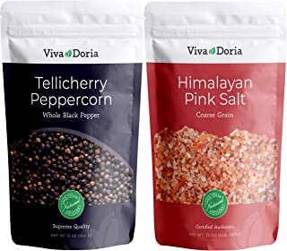 Viva Doria Tellicherry Peppercorn – Black Peppercorns (Steam Sterilized Whole Black..