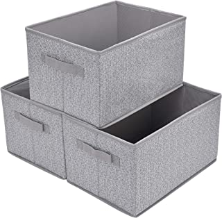 GRANNY SAYS Closet Organizer Bins, Storage Basket for Shelves, Closet Bins with Handle, Home and Office Box Organizer, Gray, Large, 3-Pack