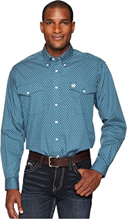 Long Sleeve Plain Weave Print Double Pocket