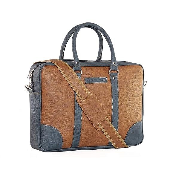 Dein Kleider Faux Leather Unisex Messenger Laptop Bag (Tan)