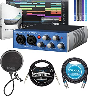 PreSonus AudioBox USB 96 2x2 USB Audio Interface Bundle with Studio One Artist Software, Blucoil 10-FT Balanced XLR Cable, 10-FT Straight Instrument Cable (1/4in), Pop Filter, and 5x Cable Ties
