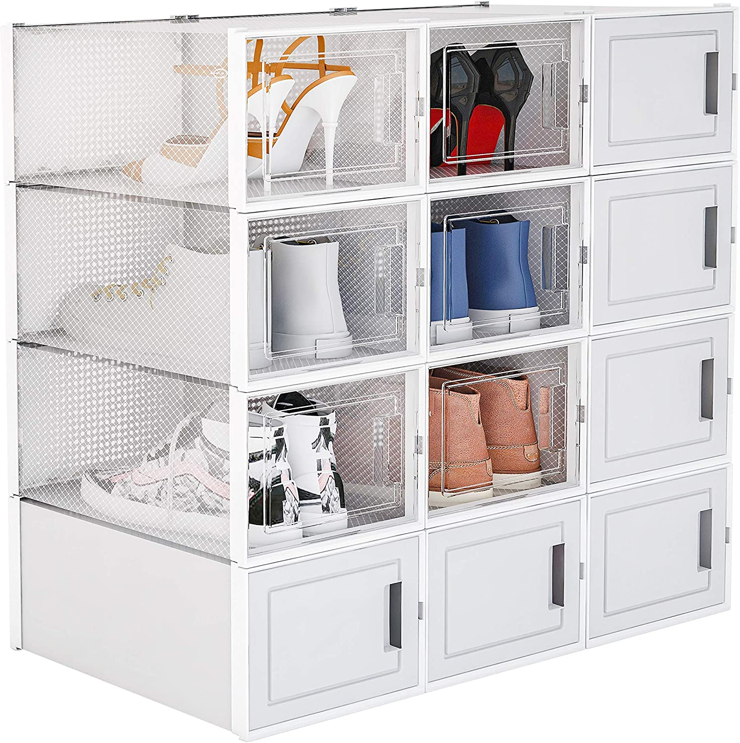 WAYTRIM Storage Shoe Box Foldable 6 and Clear NEW before selling ☆ D Columbus Mall White Sneaker
