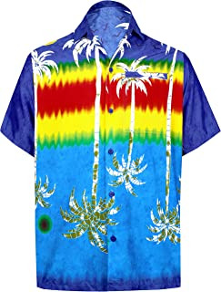 LA LEELA Men's Button Down 3D HD Tropical Hawaiian Collared Holiday Shirt DJ