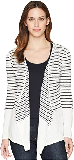 Stripe Open Cardigan w/ Solid Hem