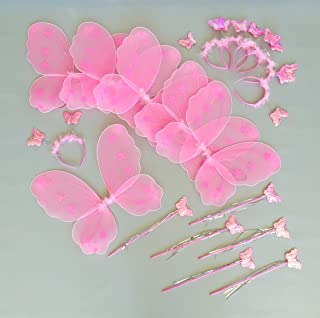 Butterfly Craze Heart to Heart Wings & Wand (6 Set) Costume, Pink