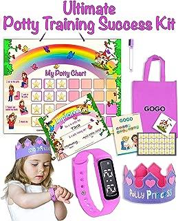 GOGO Potty Training Set - Potty Training Watch - Potty Training Chart - Magic Target Toilet Sticker - Toilet Training Success Kit for Girls Toddlers Kids (Princess)