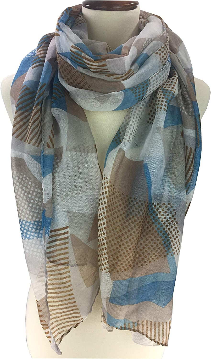 Lightweight silky feel trendy designed with Trapezoids print cotton viscose women wrap scarf
