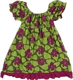 KicKee Pants Print Gathered Dress in Pesto Hibiscus - 4T