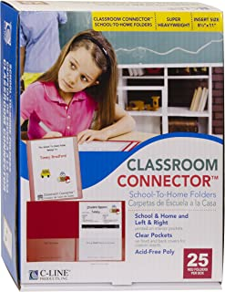 C-Line Classroom Connector School-to-Home Folders, Red, 25 per Box (32004)