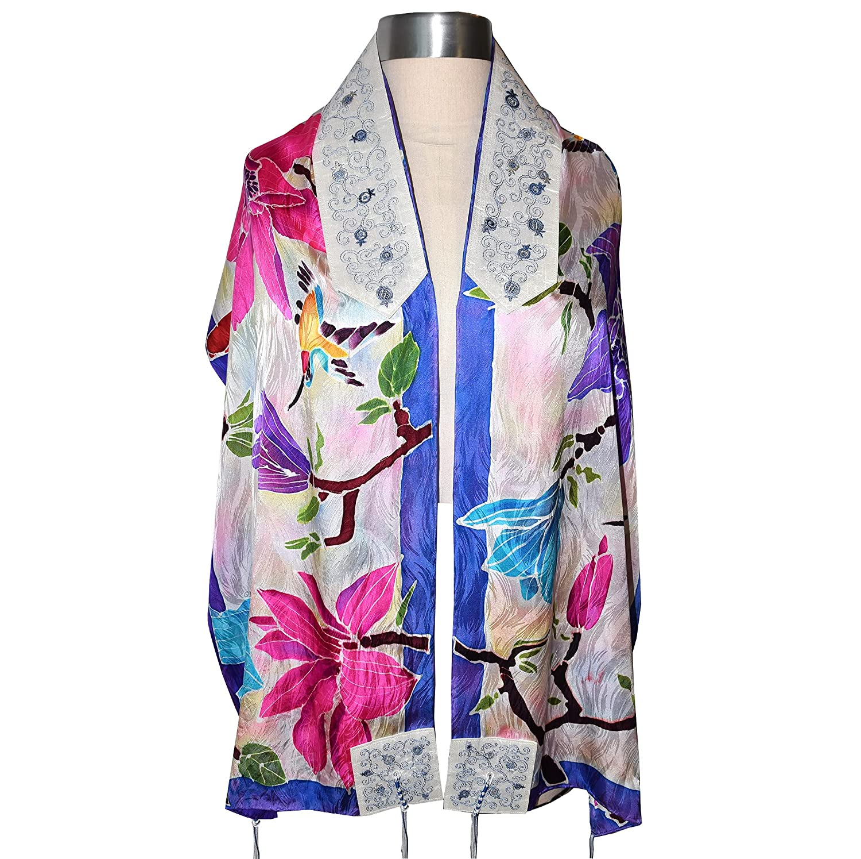 Popular Handpainted Purple Floral and Hummingbird Silk Sha Prayer excellence Tallit