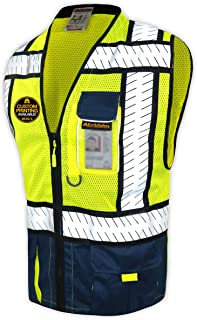 KwikSafety (Charlotte, NC) SHERIFF (Multi-Use Pockets) Class 2 ANSI High Visibility Reflective Safety Vest Heavy Duty Solid/Mesh and with zipper HiVis Construction Surveyor Work Mens Blue X-LARGE