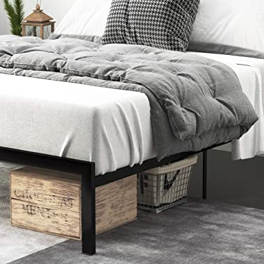 Einfach Rustic Platform Metal Bed Frame with Wooden Headboard and Footboard/Mattress Foundation with Strong Slat Support/No B
