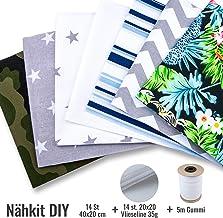 Tissus Coton pour couture 7 pi/èces 50 x 80 cm elastique Tissu au metre Patchwork dans un ensemble avec un Ruban elastique et Molleton
