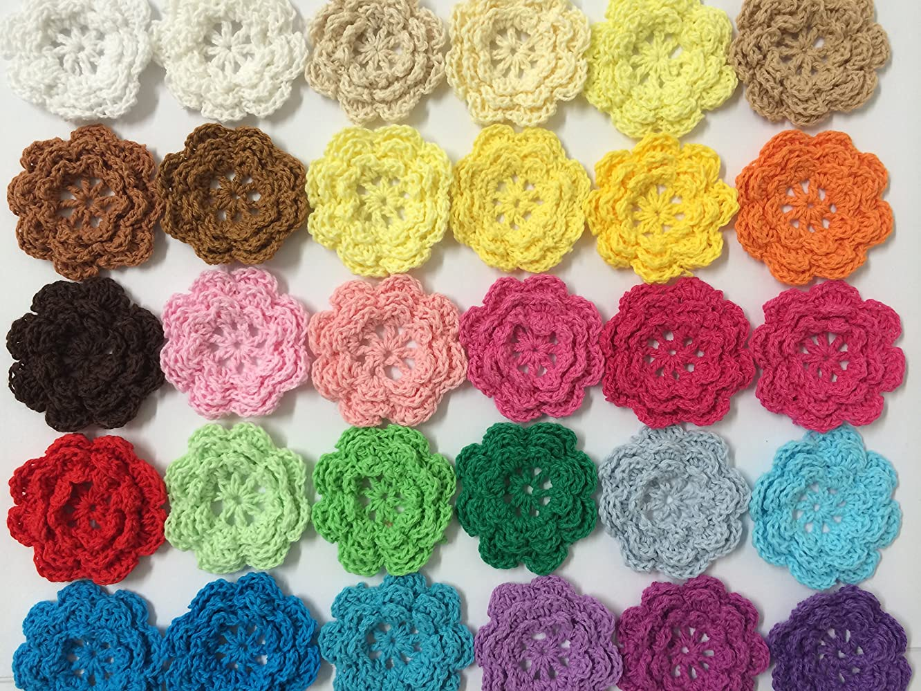 PEPPERLONELY Brand 20PC Rainbow Collection Eight Petals 2 Inch Crocheted Flower Appliques Embellishments