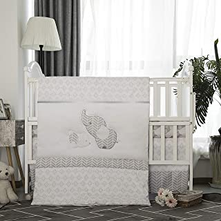 La Premura Baby Elephants Nursery Crib Bedding Sets – Gray Elephants & Puppy 3 Piece Standard Size Gary Crib Set - Unisex Nursey Bedding and Neutral decor