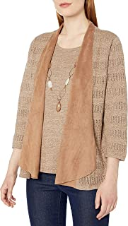 Alfred Dunner Women's Suede Trim 2 Fer with Necklace Detail