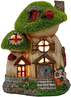 TERESA'S COLLECTIONS Flocked Big and Mini Mushroom House Fairy Garden Statue, Outdoor Resin Statues with Solar Lights, Gar...