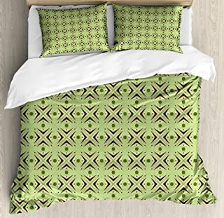 Ambesonne Mid Century Duvet Cover Set, Atomic Form with Boomerang Details Dots and Crossed Lines, Decorative 3 Piece Bedding Set with 2 Pillow Shams, King Size, Green Plum