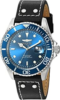 Men's 'Pro Diver' Quartz Stainless Steel and Leather Watch, Color:Black (Model: 22068)