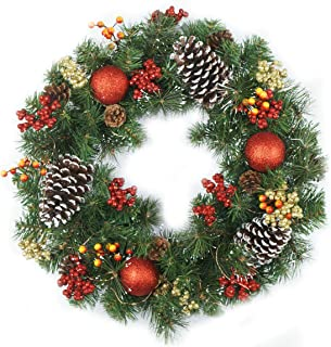 Delicaft Pre-Lit 18 Inch Luxury Red Gold Christmas Wreath for Front Door with Artificial Greenery Spruce, Christmas Ball Ornaments and Pinecones, Battery Operated 30 LED Lights (Big Pinecone Wreath)