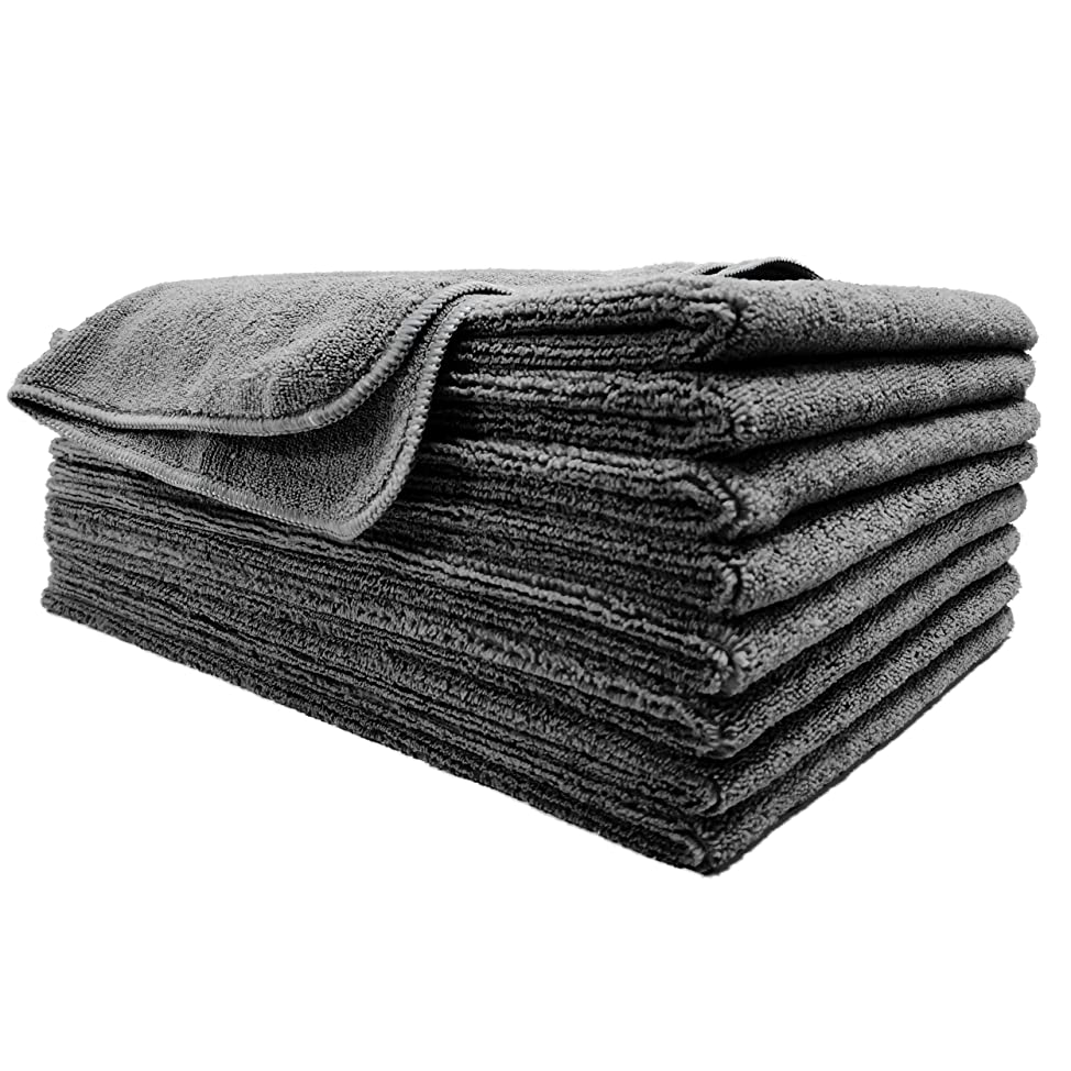 Polyte Professional Quick Dry Lint Free Microfiber Hair Drying Salon Towel, 8 Pack (16x29, Dark Gray)