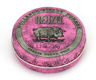 Reuzel - Pink Grease Heavy Hold Pomade For Men - Medium Shine - Oil Based - Great For Curly Hair - Moulds and Retains Shap...