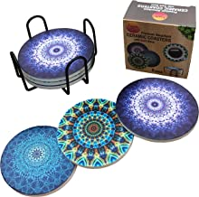 Absorbent Drink Coasters with Holder - Set of 6 Unique, Cool and Colorful Mandala Ceramic Stone Coasters. Fun, Absorbing Protection for Table and Home Bar.
