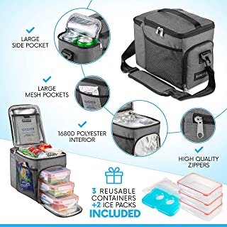 HemingWeigh Reusable Insulated Lunch Box - Durable Lunch Bag Cooler w/Spacious Storage Compartments - Includes 3 Food Storage Containers & Ice Pack (Gray)