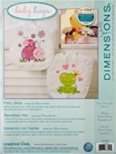 """Dimensions Fairy Baby Bibs Stamped Cross Stitch Kit, Baby Shower Gift for Girls, 9"""" x 14"""" 2 ct."""