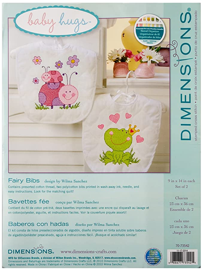 "Dimensions Fairy Baby Bibs Stamped Cross Stitch Kit, Baby Shower Gift for Girls, 9"" x 14"" 2 ct."