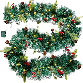DR.DUDU 60 LED Christmas Garland,9 Foot Artificial Christmas Garland with Lights, Ind Covered by Snowflake for Christmas P...